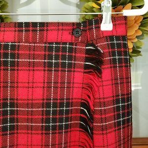 Vintage Rafaella Plaid 100% Wool Wrap Skirt